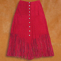 Hand stitched fringed suede riding skirt with silver buttons